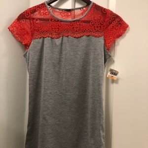 Poof Gray Coral Cap Sleeve Tee Small